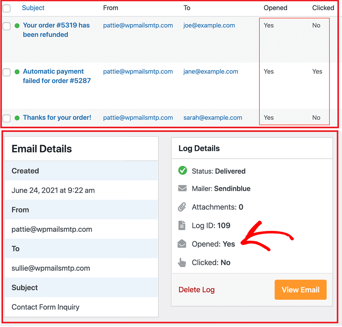 Step 5 Check Email Open Rates and Link Clicks in Email Logs