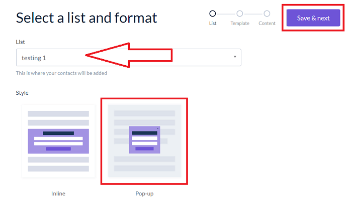 Step 4 Choose a Form Style and List