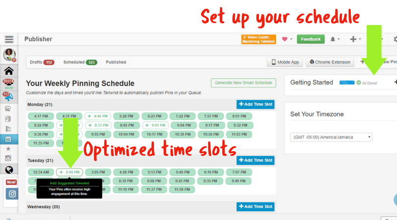 Tailwind App Smart Schedule and Optimized time slots