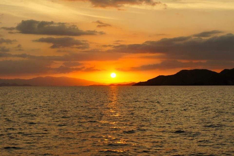 The gorgeous sunset near the Flores island