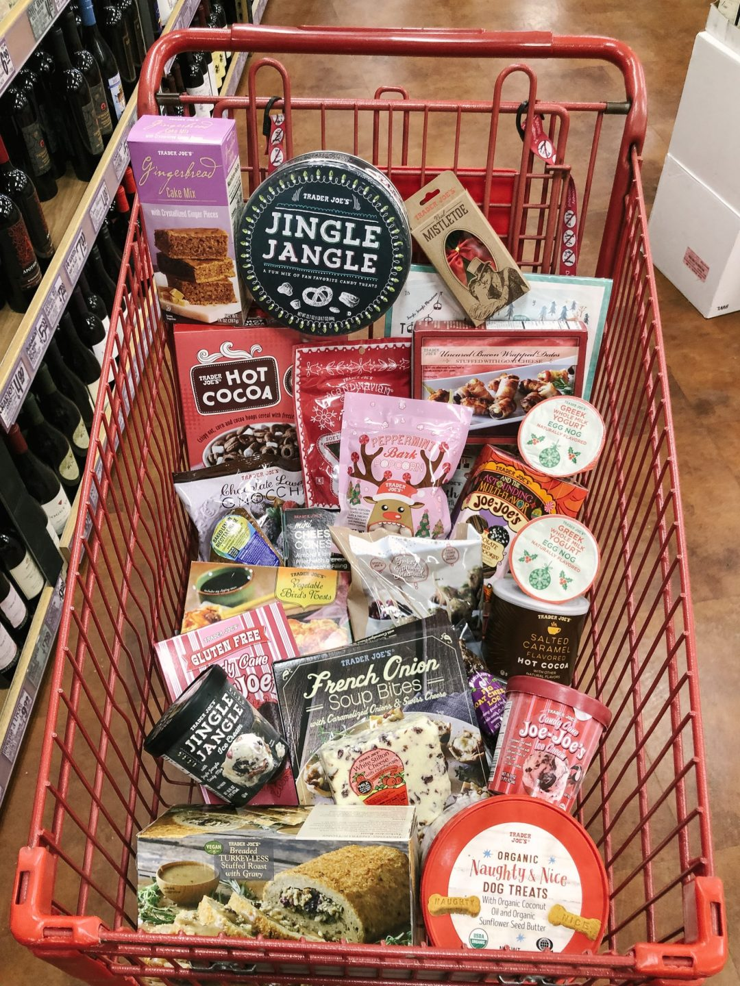 A cart full of holiday items at Trader Joe's in San Diego