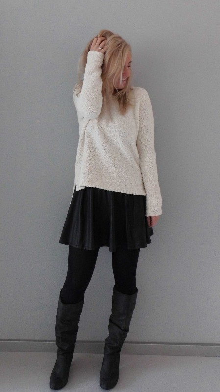 OOTD-outfit-whatimwearing-fluffy-sweater-trui-forever21-leather-look-skirt-stradivarius-leer-high-heel-boots-zara-nice-warm-winter-2