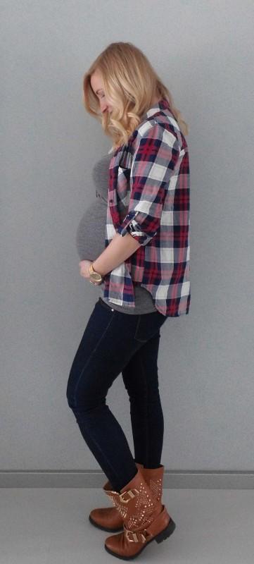 OOTD-outfit-of-the-day-zwanger-zwangerschap-positiekleding-buik-houthakkersblouse-jeans-boots-1