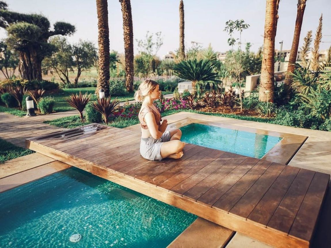morocco, palm trees, garden, swimmingpool, praying
