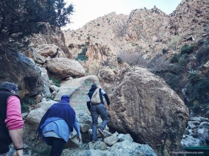 mountain, climbing, people, morocco, waterfalls, ourika valley