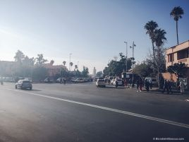 taxi, marrakech, street, morocco, palm trees, parking