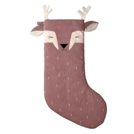 CALCETÍN DE NAVIDAD SLEEPY DEER GRANATE PERSONALIZABLE – FABELAB
