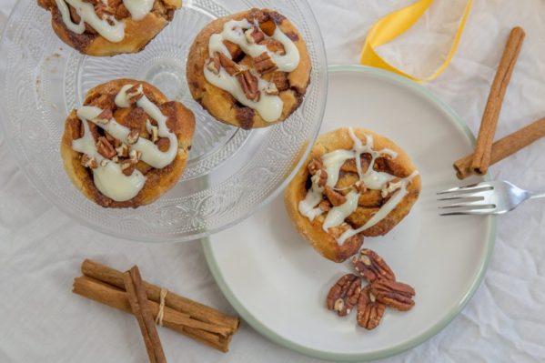 Cinnamon swirl buns from above