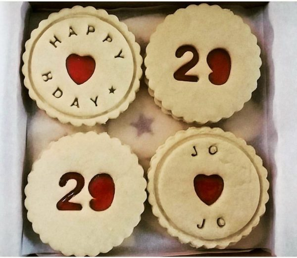 Box of bespoke happy birthday biscuits
