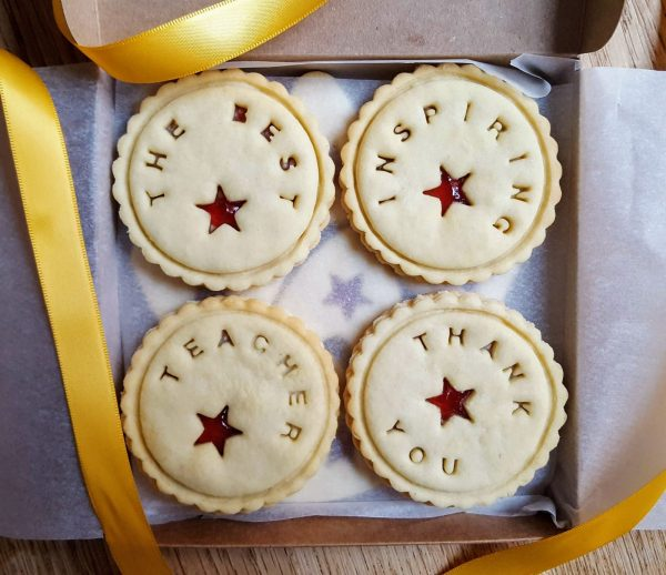 Bloom Bakers personalised Thank You Teacher biscuit boxes