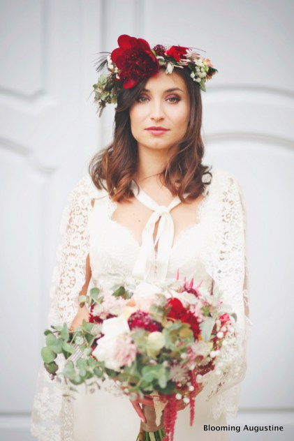 Séance Marsala,make up Version Lili, bouquet et couronne Blooming Augustine, photo Ulrike Pien
