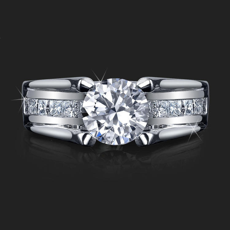 Wide Band Floating Diamond Tension Mounted For Maximum