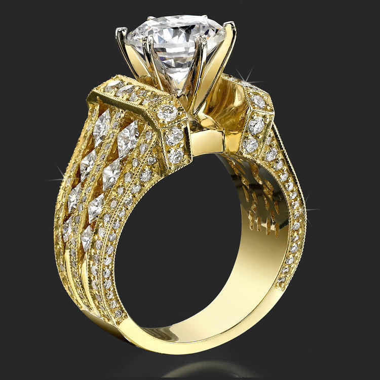 Immense Raised Milgrain Edged Princess And Round Diamond