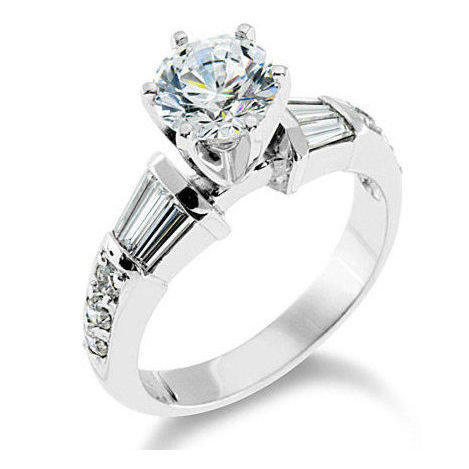 Tiffany Style Channel Set Baguette and Pave Mounted Round Beveled Diamond Engagement Ring