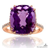 20k Rose Gold Rich Color 8.65 ct. Purple Rose Cut Amethyst