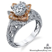 Art Carved Blooming Rose Flower Engagement Ring with Rose ...