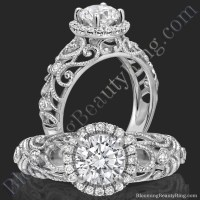 La Bella  Ornamental Filigree Diamond Halo Engagement ...