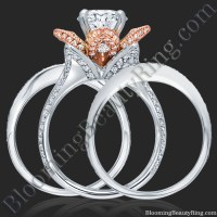 2.38 ctw. Double Band Two Toned White and Rose Gold Flower