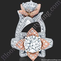 Two Toned Rose Gold and White Blooming Beauty Flower Ring ...