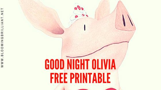 Free Printable of Good Night Olivia Song Lyrics.
