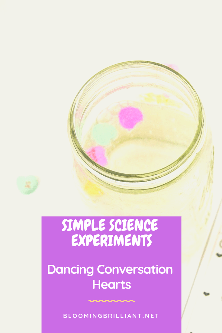 Since it is Valentine's Day is approaching this fun and simple dancing conversation heart science experiment is sure to get your kids excited.