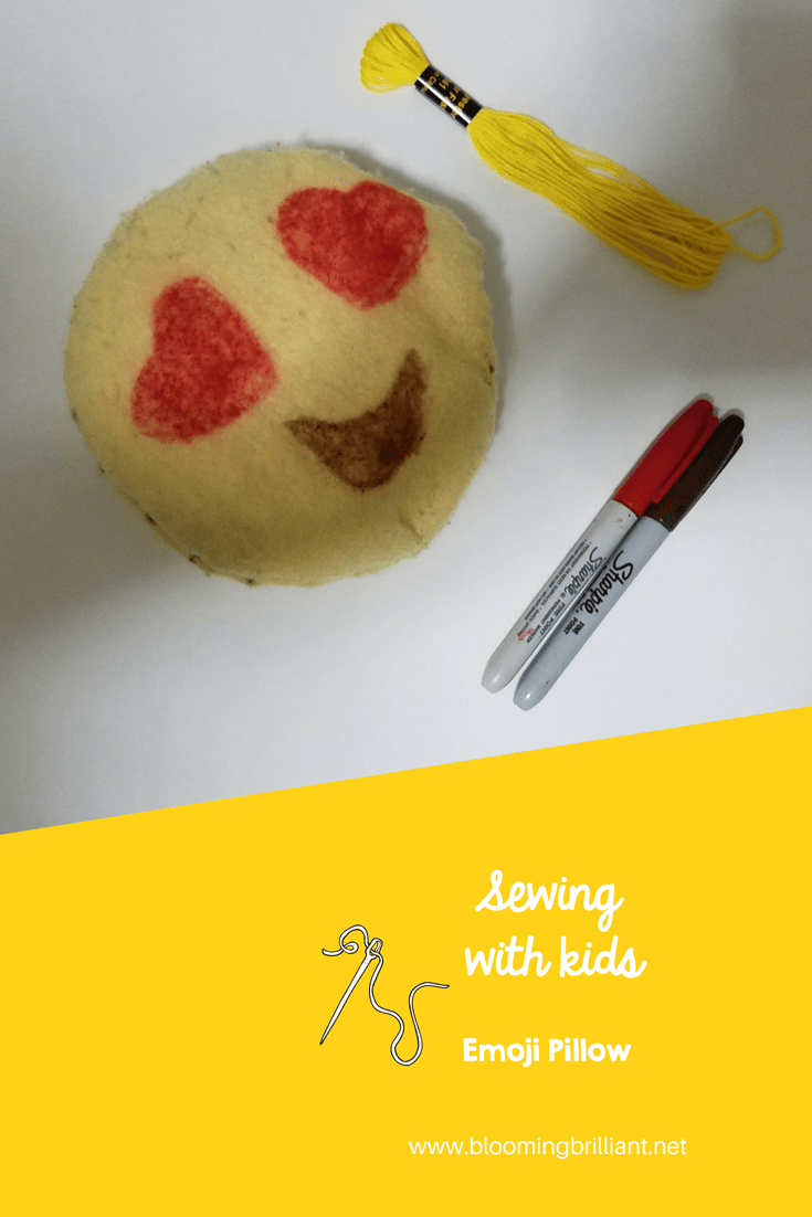 Teaching kids how to sew is an important skill for them to learn. Try Sewing with Kids Emoji Pillow to teach the basic running stitch.