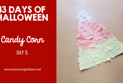 Crafts for Kids- Halloween Candy Corn Craft! Looking for a fun Halloween Craft for your kids? This Halloween Candy Corn Craft is both so simple and fun! #CraftsforKids #Preschool #Toddlers