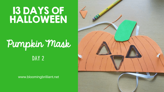 Crafts for Kids- Halloween Pumpkin Mask Craft! Looking for a fun Halloween Craft for your kids? This Halloween Pumpkin Mask Craft is both simple and fun! #CraftsforKids