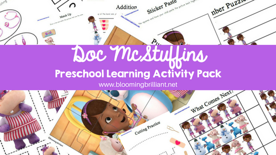 graphic regarding Printable Doc Mcstuffins identified as Document McStuffins Preschool Discovering Sport Pack - Blooming