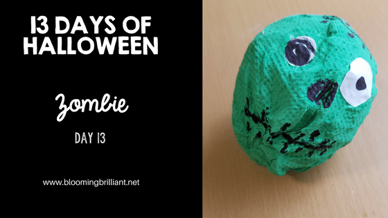 Crafts for Kids- Halloween Zombie Craft! Looking for a fun Halloween Craft for your kids? This Halloween Zombie Craft is spooky and fun! #CraftsforKids