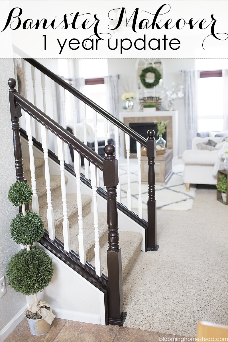 Stair Railing Makeover One Year Later Blooming Homestead | Cost To Refinish Stair Railing | Hardwood Stairs | Gel Stain | Wood | Sanding | Stair Case