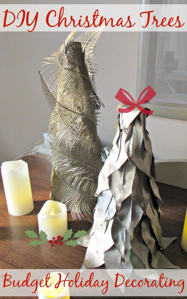 Budget Friendly Holiday Decor- DIY Christmas Trees. Cheap & easy to make and inspired by Cracker Barrel from only foam trees, greenery, glue & spray paint.