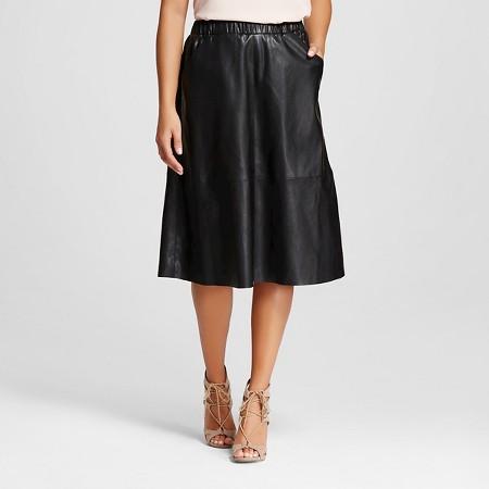 Women'S Vegan Leather Midi Skirt Black- Bagatelle City TARGET $59.99