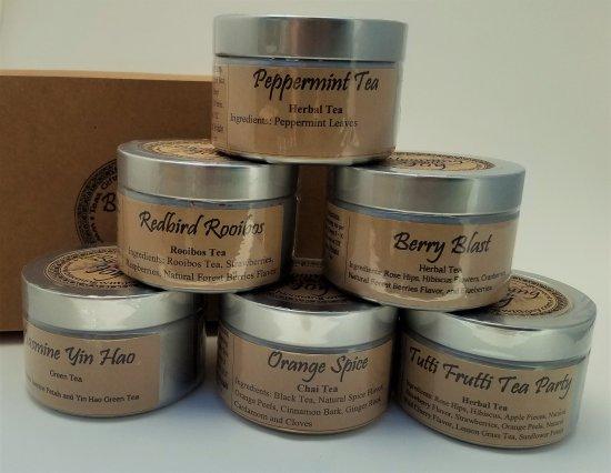 6 tin tea gift set blooming with joy