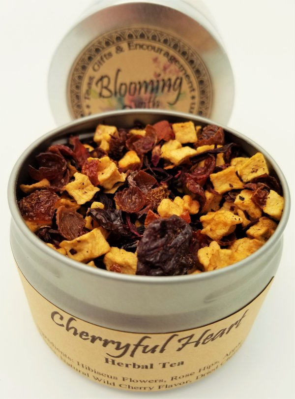 cherryful heart tea blooming with joy