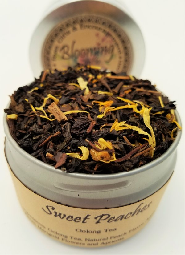 sweet peach tea oolong blooming with joy