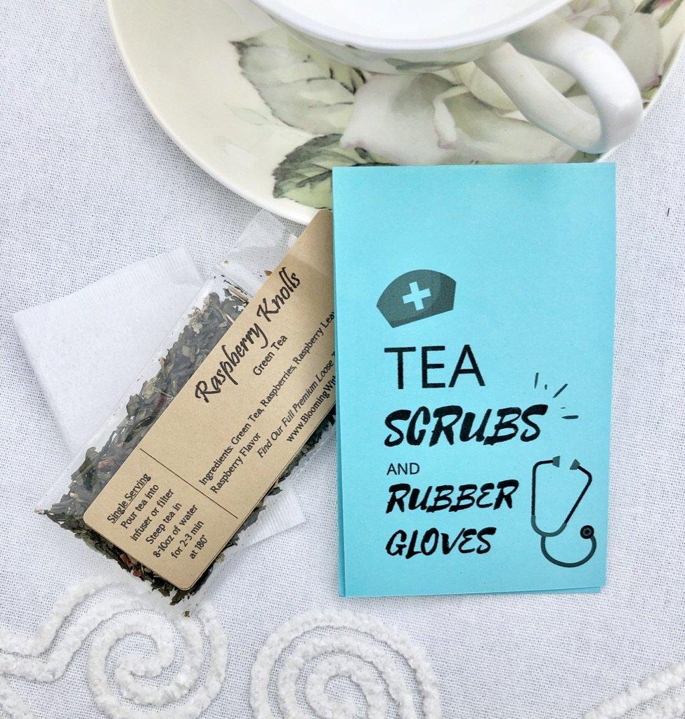 tea scrubs and rubber gloves