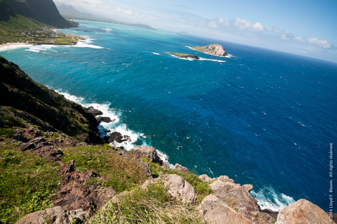 View fr. Makapuu Point toward Rabbit Island and Kanehoe