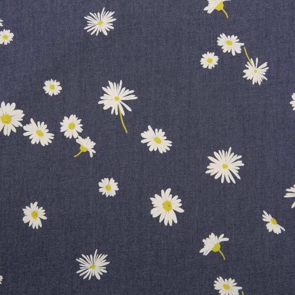 Ragged Daisies Denim Print Art Fabrics
