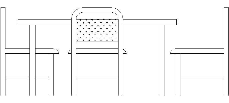 Bloques AutoCAD Gratis de Mesa comedor en alzado con 3 sillas