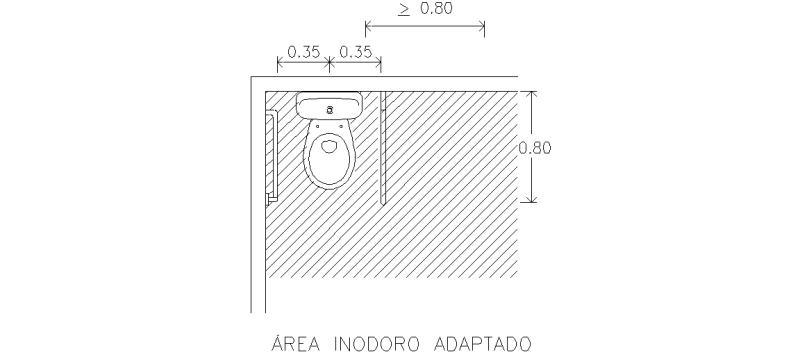 Bloques AutoCAD Gratis de Planta inodoro adaptado y área