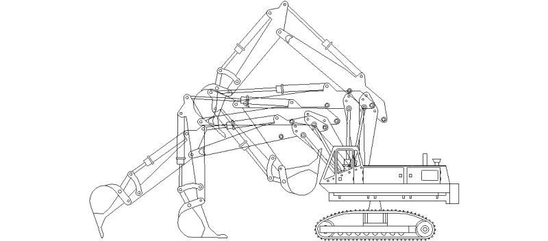 Bloques AutoCAD Gratis de Alzado lateral de Retroexcavadora