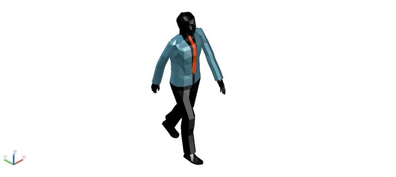 Bloques AutoCAD Gratis de persona masculina caminando en 3d