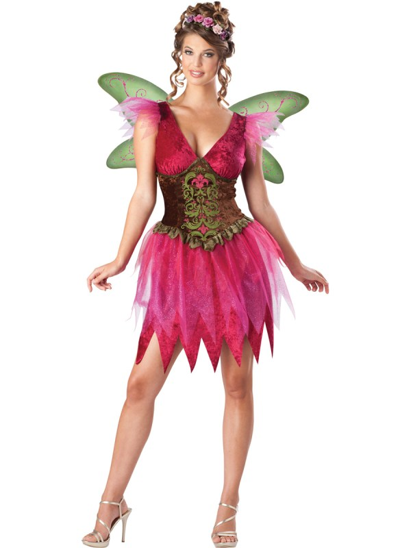 C903 Forest Faerie Fairy Tinkerbell Fancy Dress Adult Costume Outfit Wings