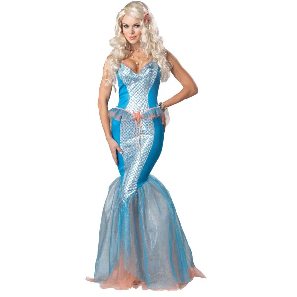 C643 Sea Siren Little Mermaid Blue Dress Fancy Adult