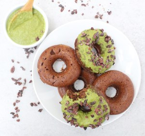 Chickpea Chocolate Donuts w/ Matcha Frosting