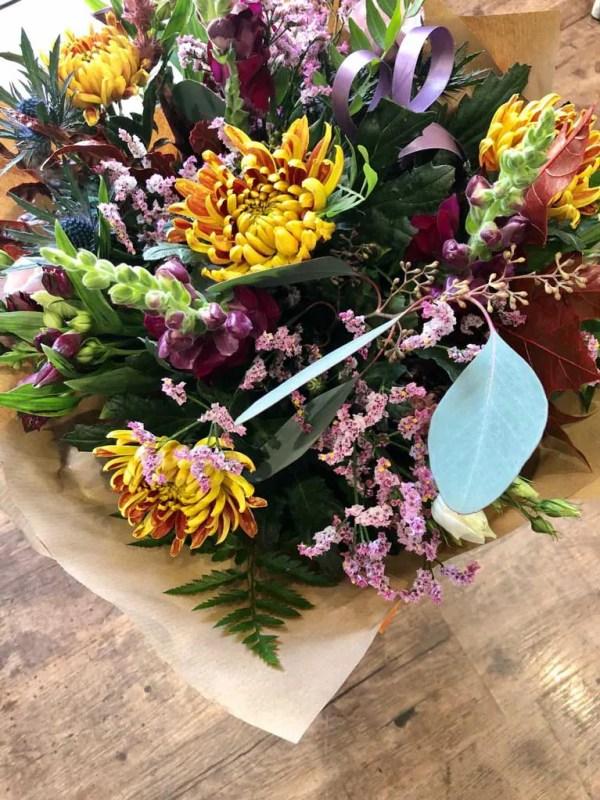 boxed flower bouquet autumn colours 1