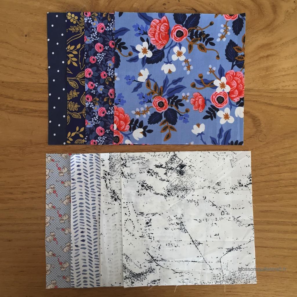tissus patchwork moderne bleu
