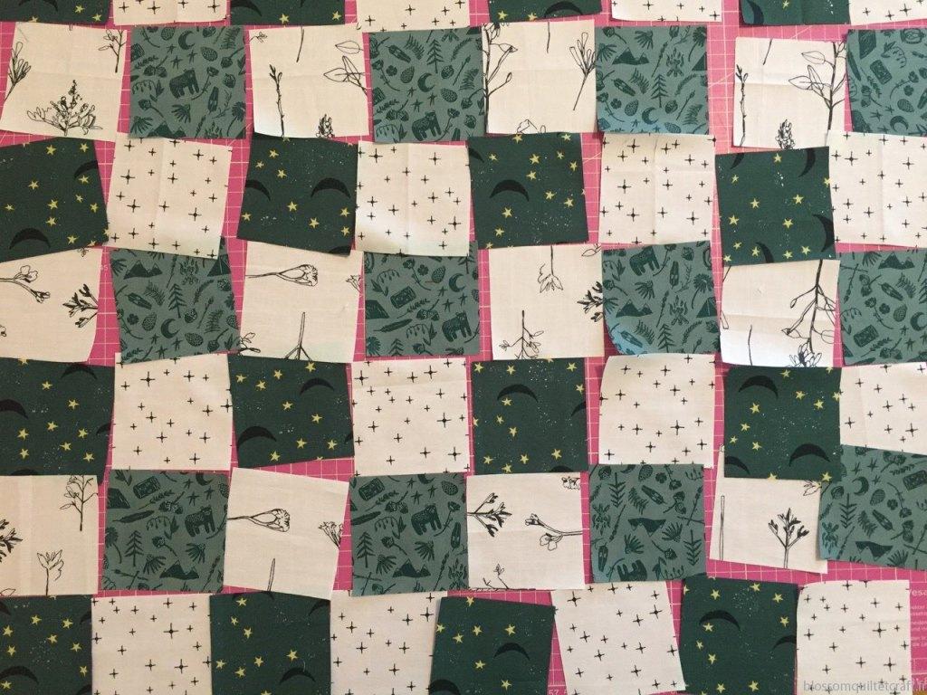 coudre patchwork moderne échiquier en tissu