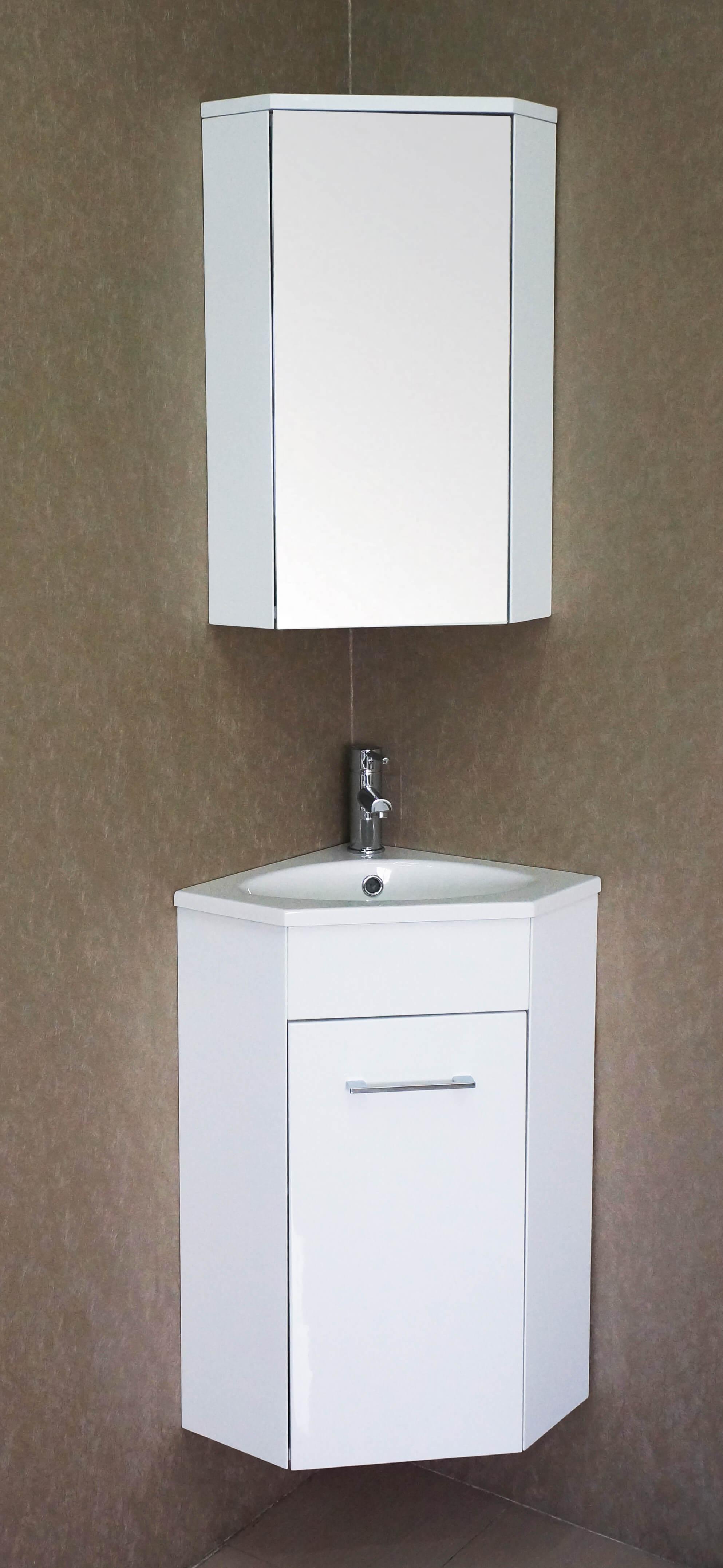 florence 16 inch corner vanity glossy white v8013 16 01
